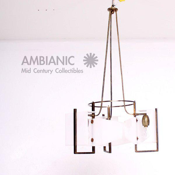 Brass Italian Modernist Chandelier For Sale - Image 7 of 8