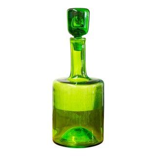 Mid-Century Blenko Green Glass Decanter For Sale