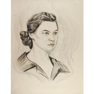 1950's Drawing Female Portrait For Sale