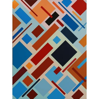 """Seeking"" Contemporary Geometric Hard Edge Acrylic Painting by Sassoon Kosian For Sale"