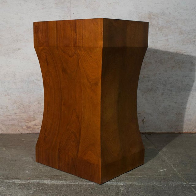 Walnut Pedestal Solid 12/4 walnut, laid up shaped & cut creating a sinuous form.