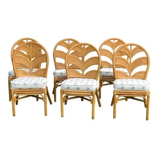 Vintage Rattan Palm Frond Hollywood Regency Chairs - Set of 6 For Sale