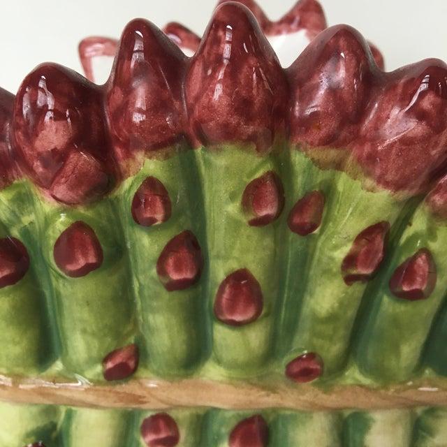 Majolica Ceramic Asparagus Napkin Holder For Sale - Image 4 of 8