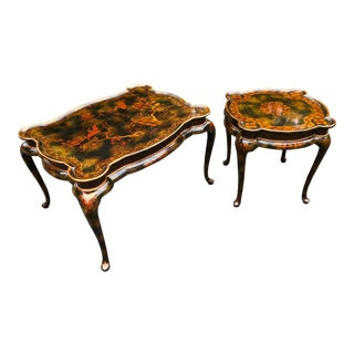 Maitland Smith Chinoiserie Hand Painted Lacquered Tables - 2 Pc. For Sale