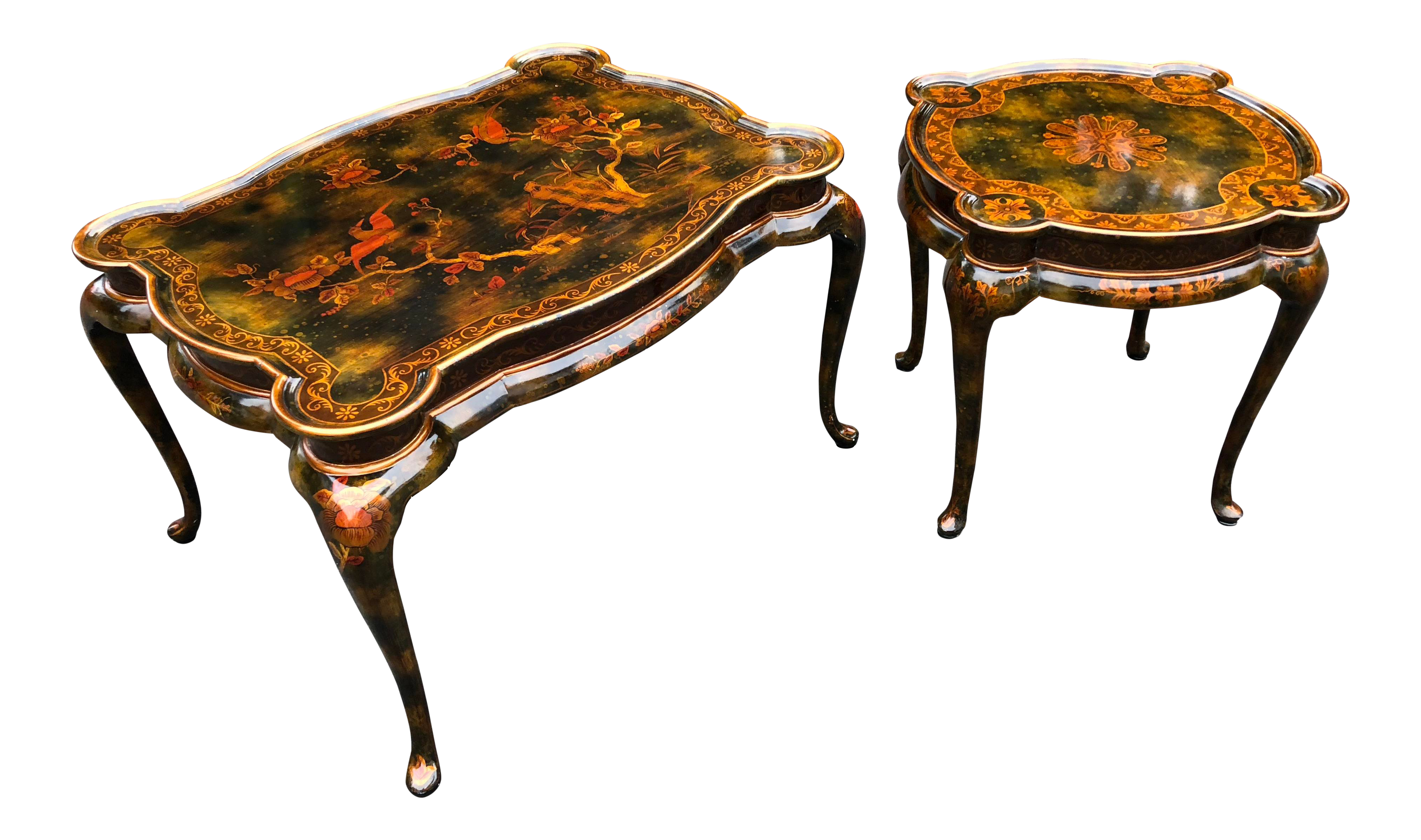 Maitland Smith Chinoiserie Hand Painted Lacquered Tables   2 Pc.