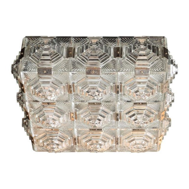 Silver Exceptional Mid-Century Modernist Flush Mount Chandelier by Kinkeldey For Sale - Image 8 of 8