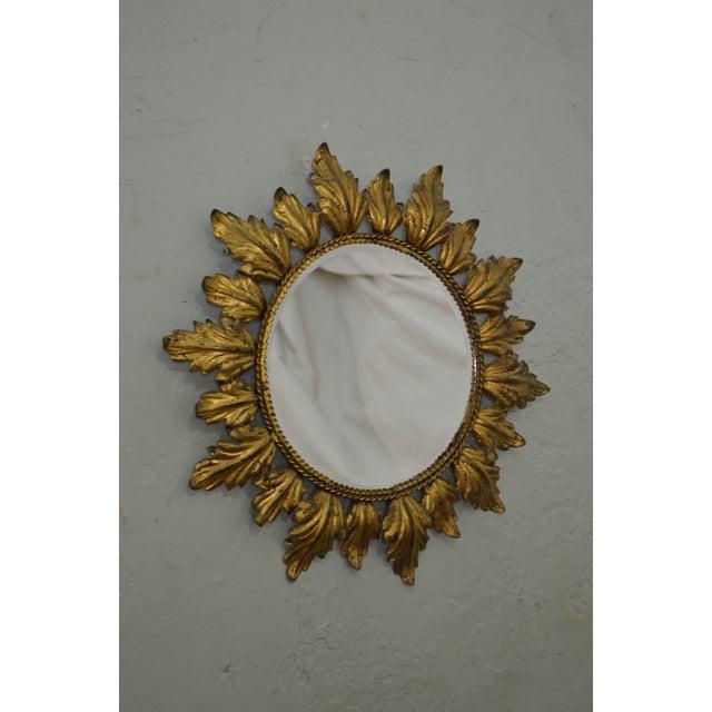 Hollywood Regency Mid century Gold Gilt Metal Starburst Wall Mirror - Image 6 of 11