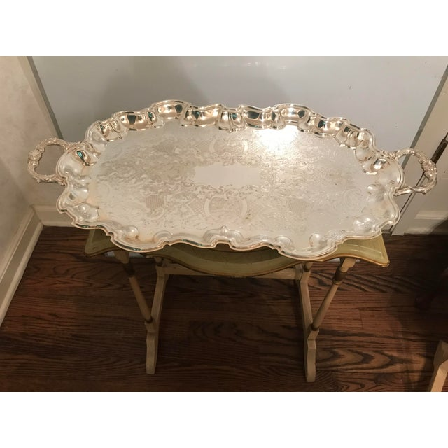 Traditional Vintage Poole Silverplate Footed Scalop Tray For Sale - Image 3 of 13