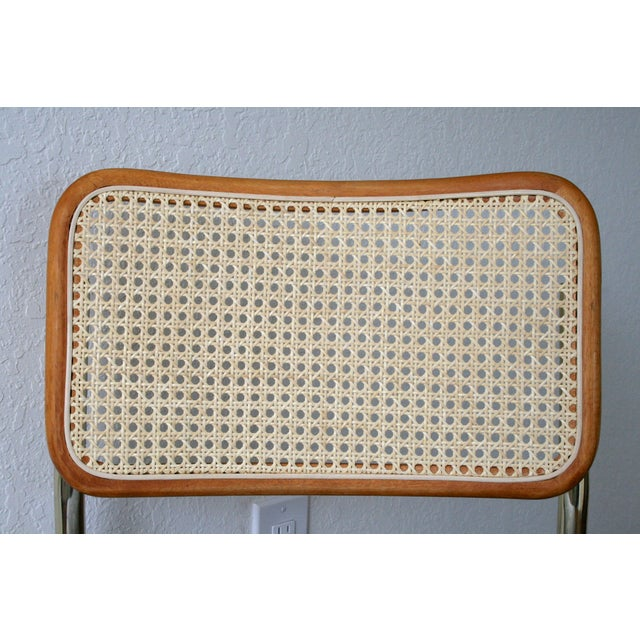 1970s Brass Cantilever Cane and Blue Print Upholstered Chairs For Sale - Image 5 of 9