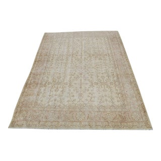"Vintage Turkish Overdyed Distressed Wool Hand Knotted Rug - 7' X 9'9"" For Sale"