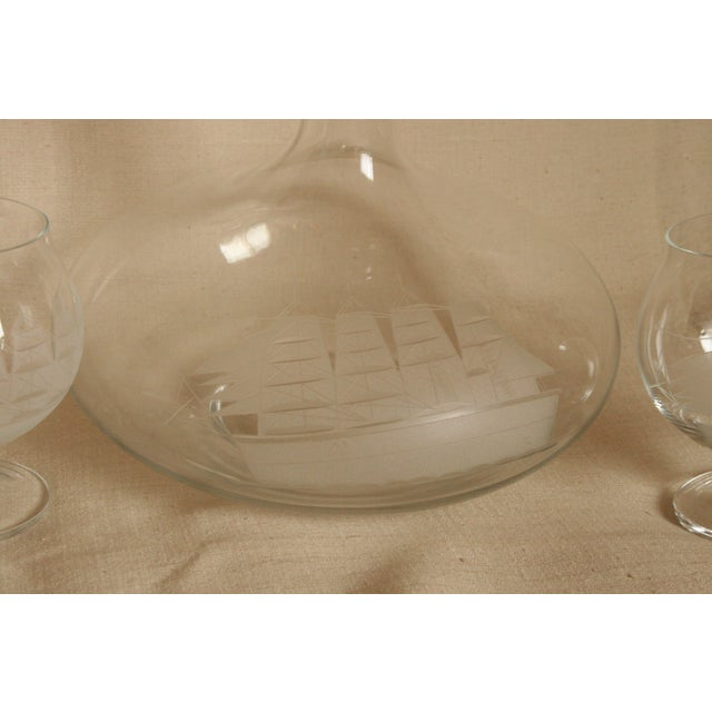 Vintage Etched Toscany Crystal Clipper Ship Decanter & Snifters For Sale - Image 4 of 10