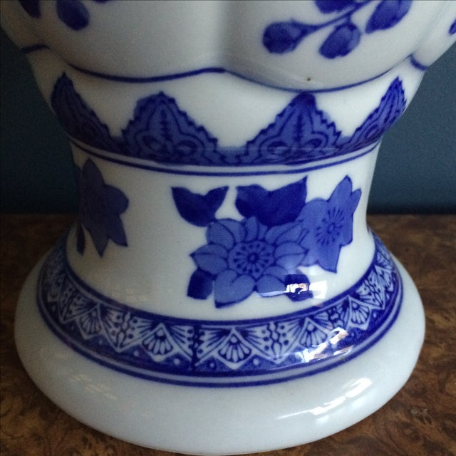 Seymour Mann China Blue Porcelain Vase For Sale - Image 5 of 6