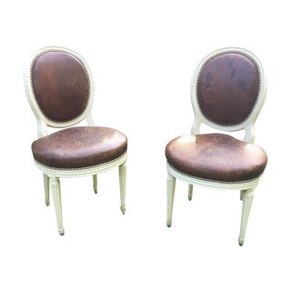 Antique Louis XVI Leather Chairs - A Pair