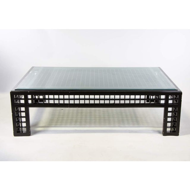 Contemporary Glass Inset Lattice Form Coffee Table For Sale - Image 11 of 11