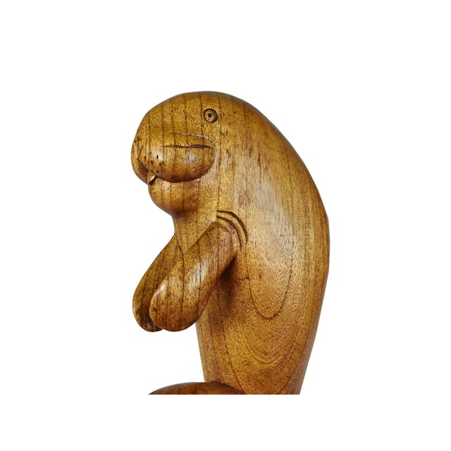 Hand Carved Wooden Sealion Seal Sea Animal Figurine For Sale - Image 6 of 7