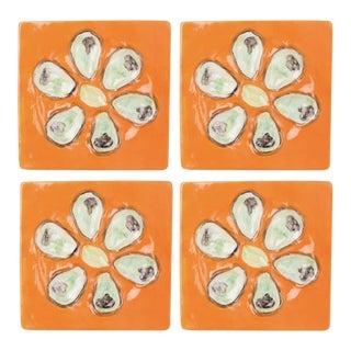 Mango Orange Square Oyster Plates- Set of 4 For Sale