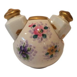 Salt and Pepper Shakers in Server, Osborne China, Gold Overlay For Sale