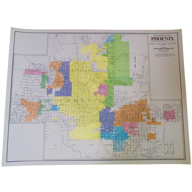 Phoenix, Arizona Wall Map 1980s Wall Decor | Chairish