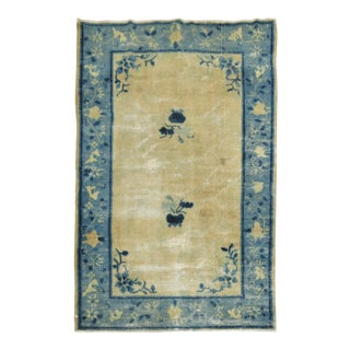 Beige Light Blue Chinese Distressed Rug, 3'9'' X 5'7'' For Sale