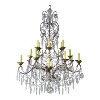 12' Light Monumental Italian Crystal Beaded Chandelier For Sale