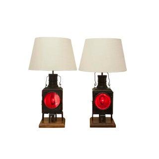 Antique Train Lantern Lamps - A Pair For Sale