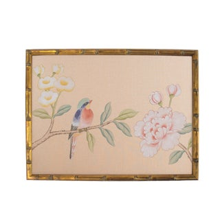 Red-Breasted Bird on Rose Silk Painting For Sale