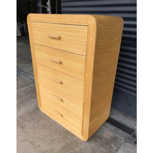 Art Deco Vintage Pencil Reed Rattan Chest of Drawers For Sale - Image 3 of 13