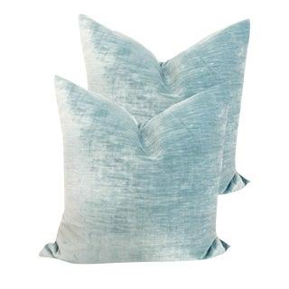 Custom Blue Linen Velvet Pillows - a Pair For Sale