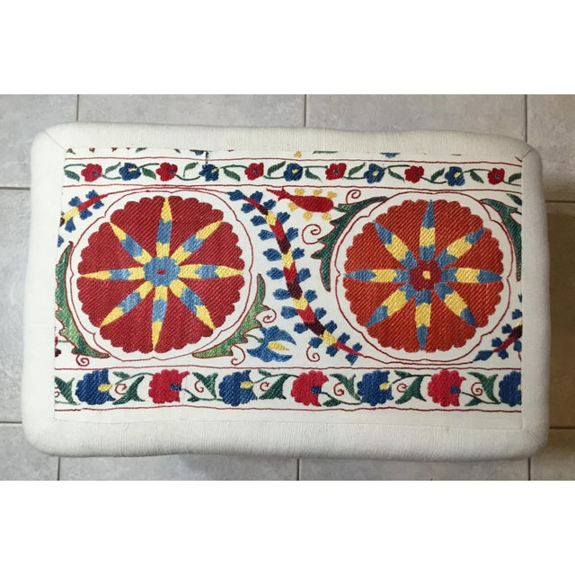 Vintage Upholstered American Sitting Stool For Sale - Image 4 of 13