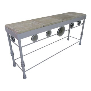 Contemporary Steel and Cast Stone Console Table For Sale
