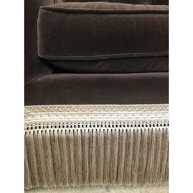 Century Furniture Mocha Brown Velvet Tufted Chesterfield With Fringe by Century Furniture For Sale - Image 4 of 13