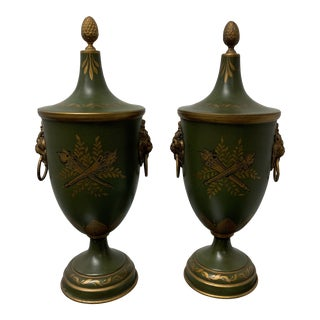 Early 20th Century French Toile Green Metal Urns - a Pair For Sale