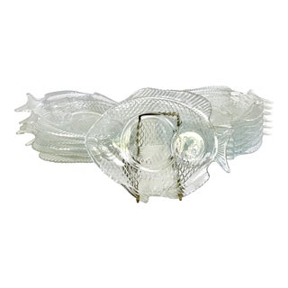 1970s Art Deco Glass Fish Plates- Set of 12 For Sale