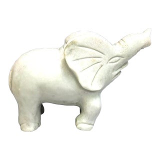 Mint Green Carved Marble Elephant Figurine For Sale