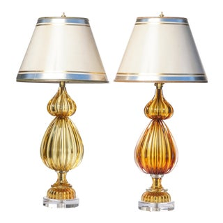 Vintage Italian Citrine Murano Lamps - a Pair For Sale
