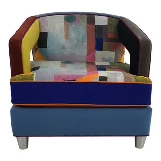 """Colorful Architecture"" Contemporary Art Lounge Chair For Sale"