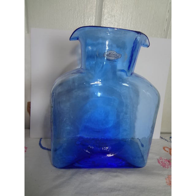 Blue Blenko Hand Made Glass Water Pitcher For Sale - Image 8 of 12