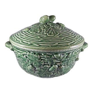 Bordallo Pinheiro Majolica Oak Leaf Green Soup Tureen For Sale