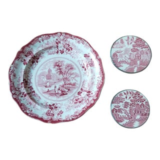 Antique Red and White Transferware Pieces - Set of 3 For Sale