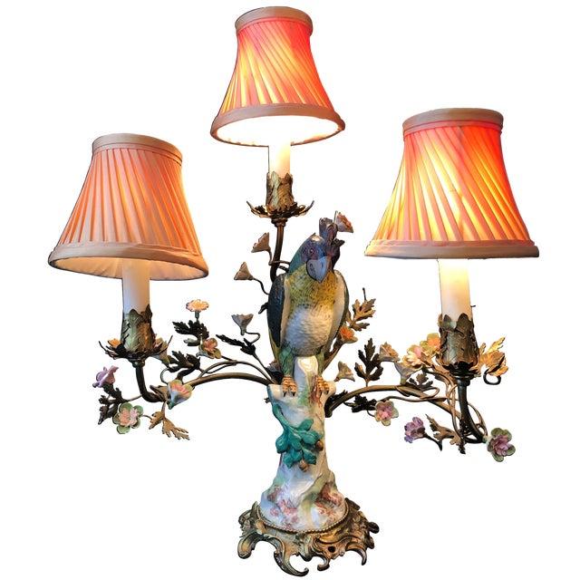 Porcelain and Ormolu Parrot Lamp After Meissen, German, 3-Light For Sale