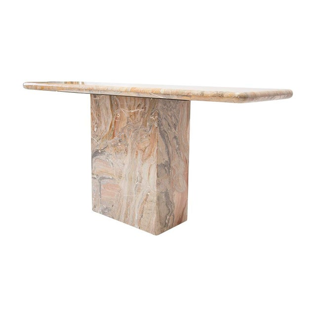 Variegated Marble Console Table For Sale In Chicago - Image 6 of 10