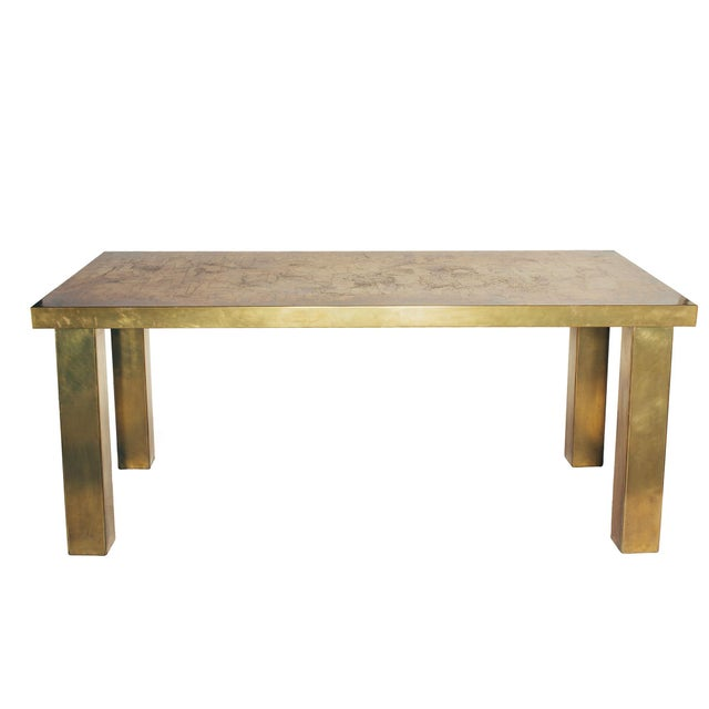 Exceptional Brass Dining Table/Desk in the Spirit of Georges Mathias, circa 1970. Since Schumacher was founded in 1889,...