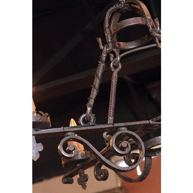 19th Century French Gothic Black Hand-Forged Wrought Iron Four-Light Chandelier For Sale - Image 5 of 10