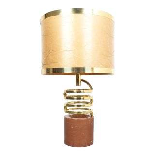 Willy Rizzo Adjustable Table Lamp for Bf Red Marble Brass, 1970 For Sale