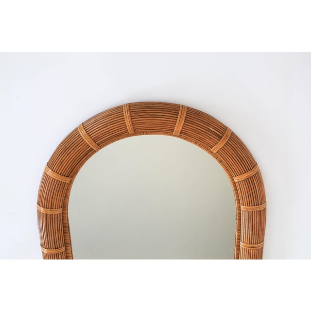 Mid 20th Century Boho Style Arched Wicker Mirror For Sale - Image 5 of 7