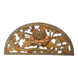 Mid 19th Century Antique Chinese Architectural Wood Floral Carving Fragment For Sale