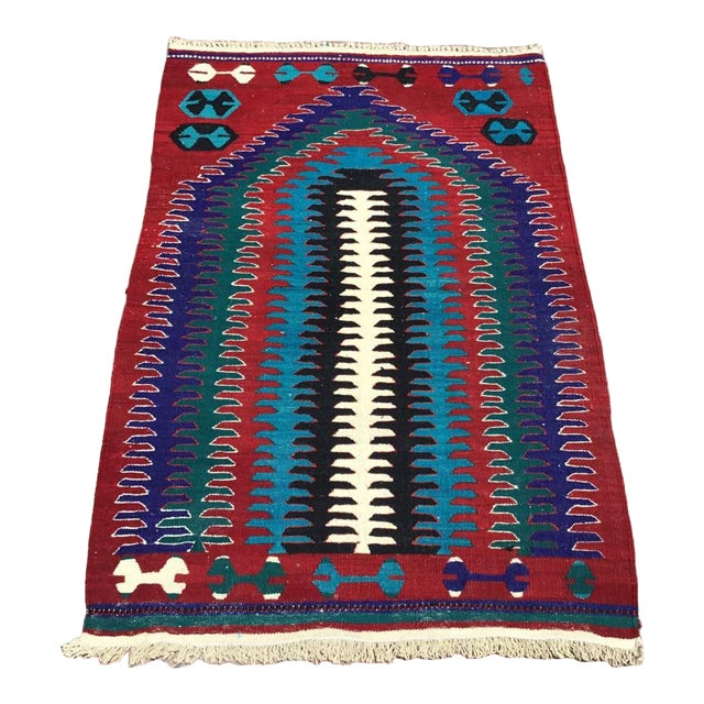 Small Vintage Turkish Kilim Rug For Sale