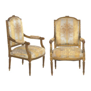 Pair of French Louis XVI Style Antique Fauteuil Arm Chairs, 20th Century For Sale