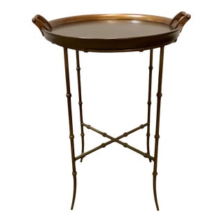 Asian Modern Hickory Chair Copper Toned Bamboo Tray Top Side Table For Sale