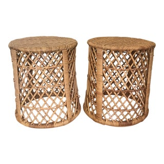1970s Boho Chic Rattan Barrel Side Tables - a Pair For Sale